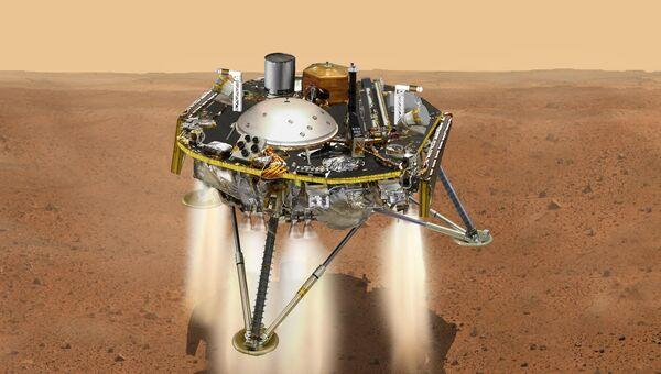 Посадка платформы InSight на Марс в представлении художника. Архивное изображение