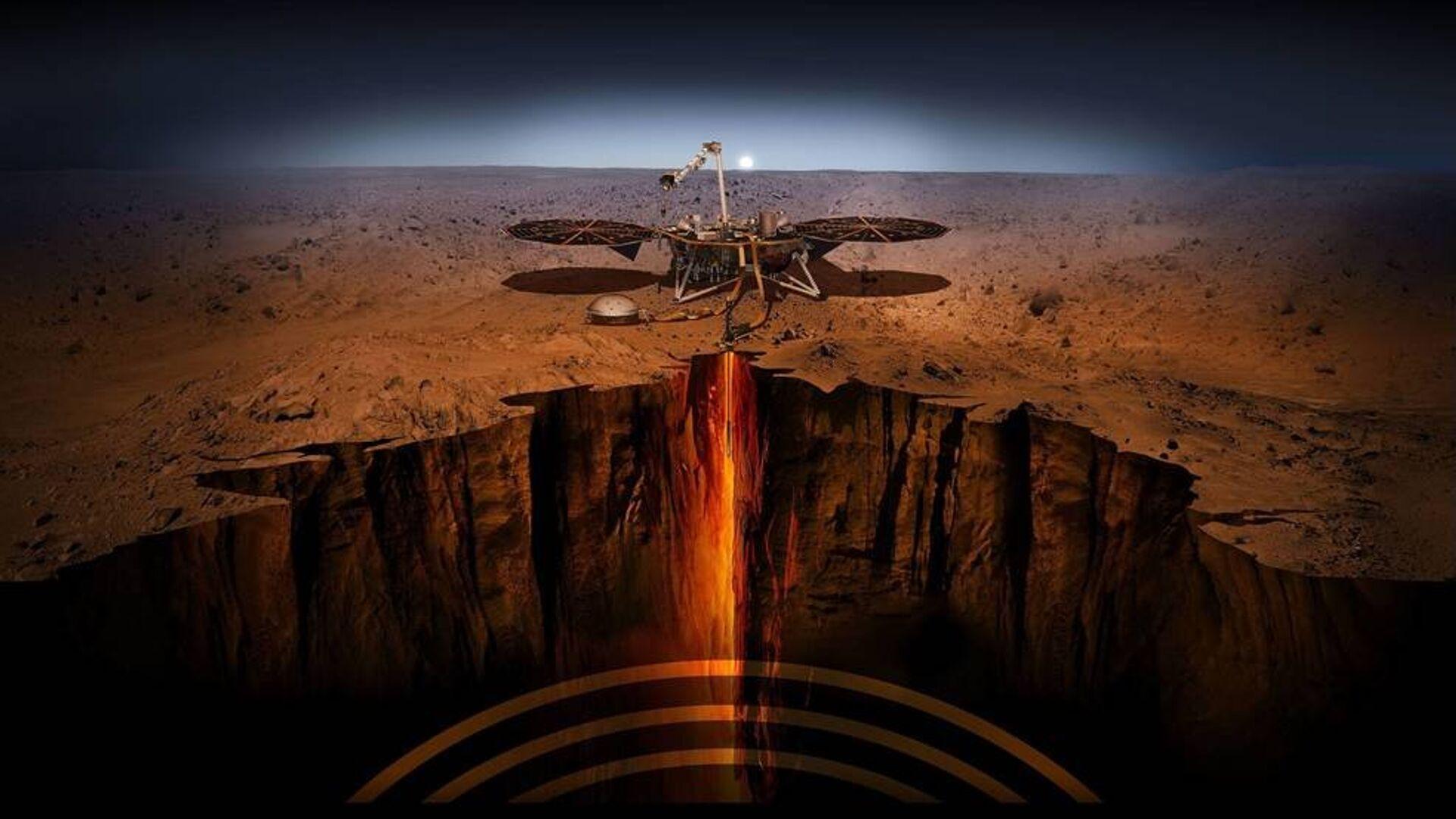 Иллюстрация спускаемого модуля InSight на Марсе - РИА Новости, 1920, 27.06.2021