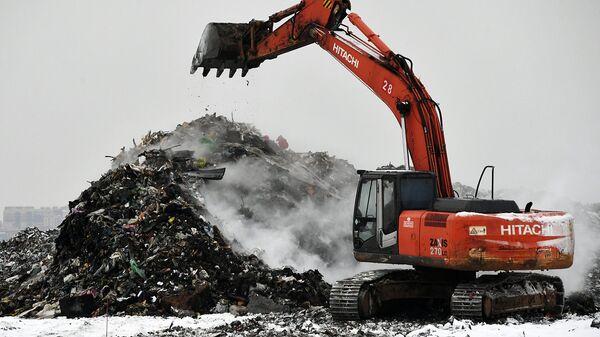 Экскаватор на полигоне твердых бытовых отходов Кучино в Балашихе Московской области. Архивное фото