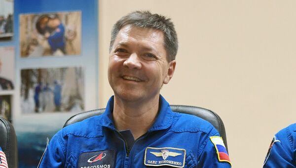 Член основного экипажа МКС-58/59 космонавт Роскосмоса Олег Кононенко на пресс-конференции перед стартом ракеты-носителя Союз-ФГ. 2 ноября 2018