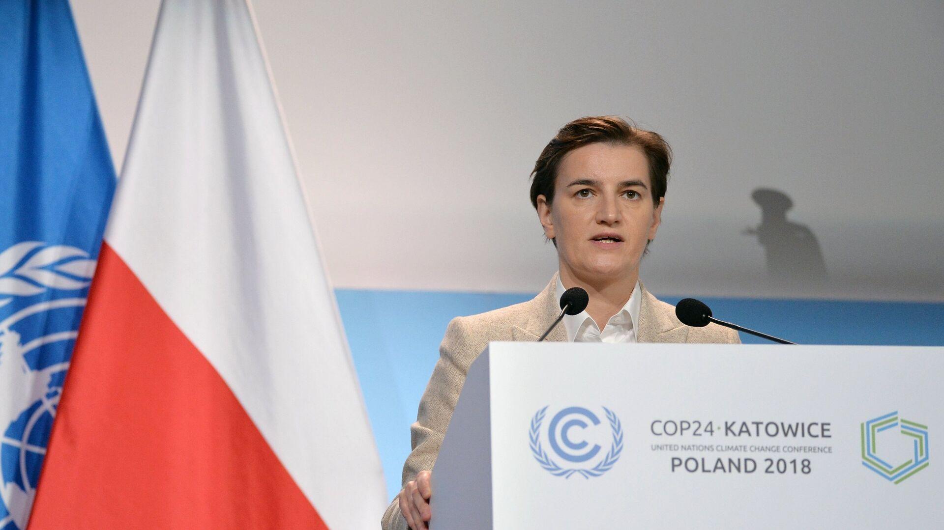 Премьер-министр Сербии Ана Брнабич выступает на конференции ООН по изменению климата в Катовице - РИА Новости, 1920, 08.03.2021
