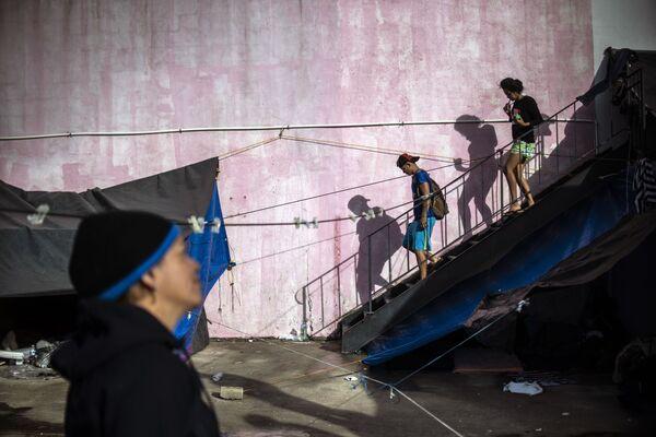 Мигранты из Центральной Америки в Тихуане, штат Нижняя Калифорния, Мексика