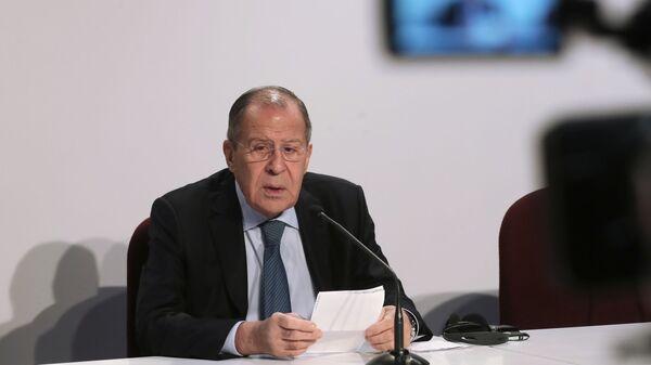 Министр иностранных дел РФ Сергей Лавров на пресс-конференции по итогам ежегодного заседания СМИД ОБСЕ в Милане. 7 декабря 2018
