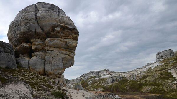 Голова из останца в Каменном городе