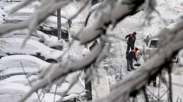 Сотрудники коммунальных служб убирают снег на дороге