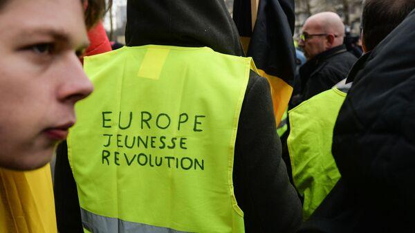 Акция протеста Жёлтых жилетов в Брюсселе