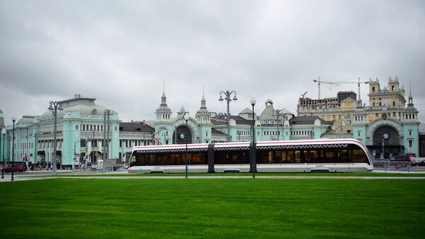 Открытие движения трамваев на площади Тверская Застава