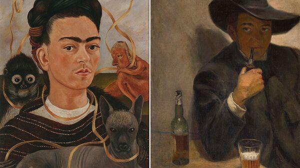 Слева - Фрида Кало. Автопортрет с обезьянкой. 1945. Музей Долрес Ольмедо. Справа - Диего Ривера. Автопортрет в шляпе. 1907. Музей Долрес Ольмедо