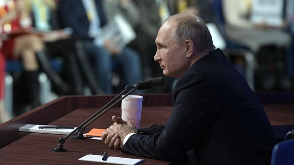 Президент РФ Владимир Путин во время ежегодной большой пресс-конференции