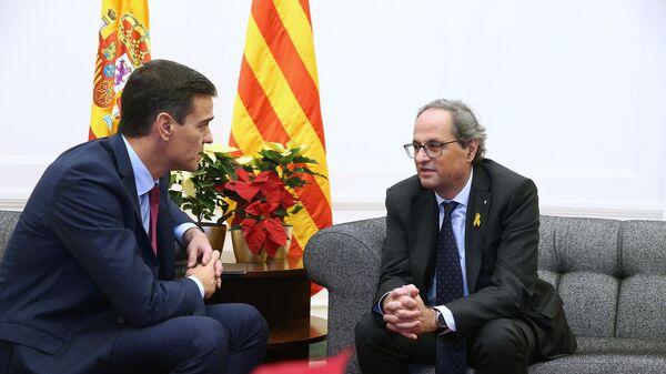 Глава Женералитета Каталонии Ким Торра в ходе встречи с премьер-министром Испании Педро Санчесом в Барселоне. 20 декабря 2018 года