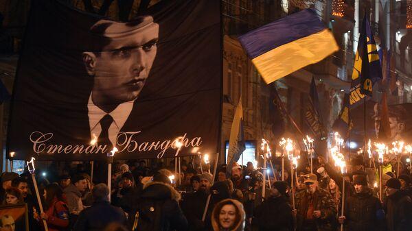 Участники марша националистов, приуроченного к 108-й годовщине со дня рождения Степана Бандеры, в Киеве