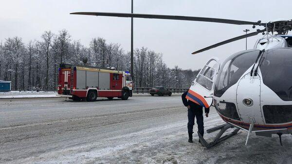 На месте ДТП на 33-м километре Киевского шоссе. 24 декабря 2018