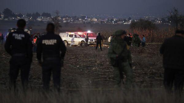 Место падения вертолета в Мексике. 24 декабря 2018
