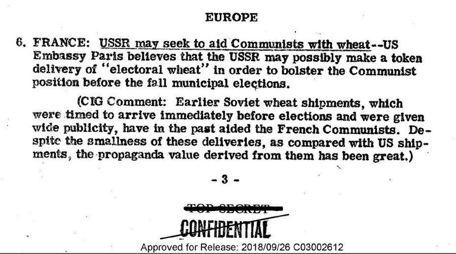 Фрагмент cводки донесений разведки США от 25 августа 1947 года