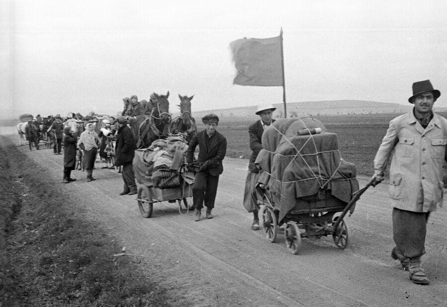 Беженцы везут по дороге тележки со скарбом. В районе Вены. 1945 год
