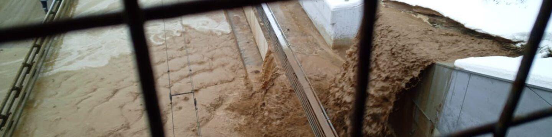 На месте подмыва грунта на участке съезда Тушинского тоннеля в Москве