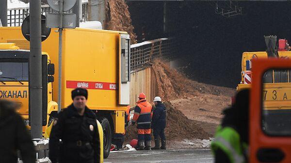 Ситуация у Тушинского тоннеля Волоколамского шоссе в Москве, подтопленного после провала грунта в шлюзе №8 канала имени Москвы