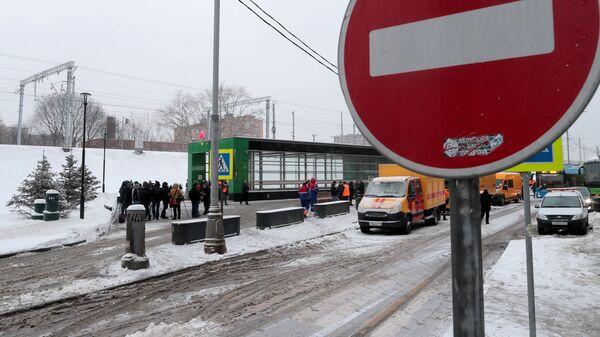 Станция метро Окружная в Москве, закрытая из-за подтопления. 15 января 2019