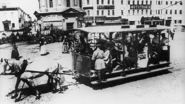 Конка на Серпуховской площади в Москве, конец XIX века