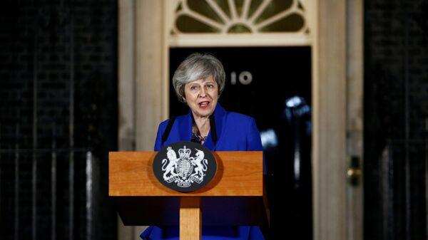 Премьер-министр Великобритании Тереза Мэй во время обращения к нации в Лондоне. 16 января 2019