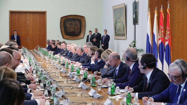 Президент РФ Владимир Путин во время российско-сербских переговоров в Белграде. 17 января 2019