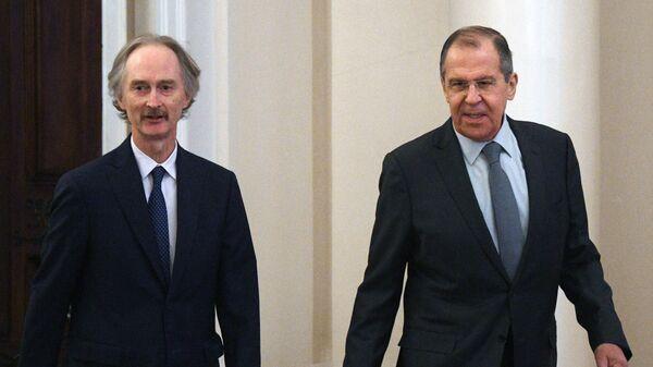 Министр иностранных дел РФ Сергей Лавров и специальный посланник генерального секретаря ООН по Сирии Гейр Педерсен
