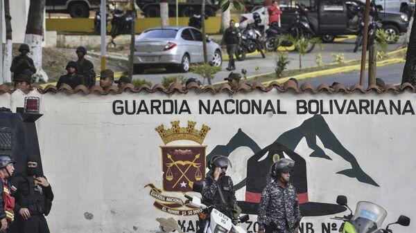 Ситуация у здания штаб-квартиры Боливарианской национальной гвардии в Каракасе, Венесуэла. 21 января 2019