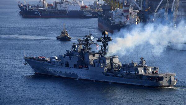 Большой противолодочный корабль Адмирал Пантелеев в порту Владивостока. 24 января 2019