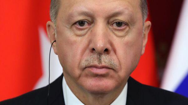 Президент Турции Реджеп Тайип Эрдоган во время совместной с президентом РФ Владимиром Путиным пресс-конференции по итогам встречи. 23 января 2019