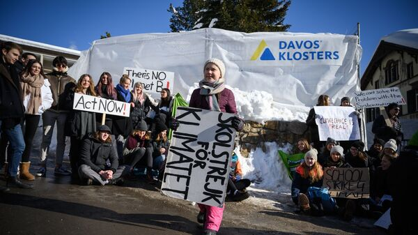 Участники митинга в защиту окружающей среды в Давосе, Швейцария. 25 января 2019