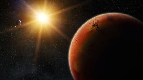 Марс во время восхода солнца