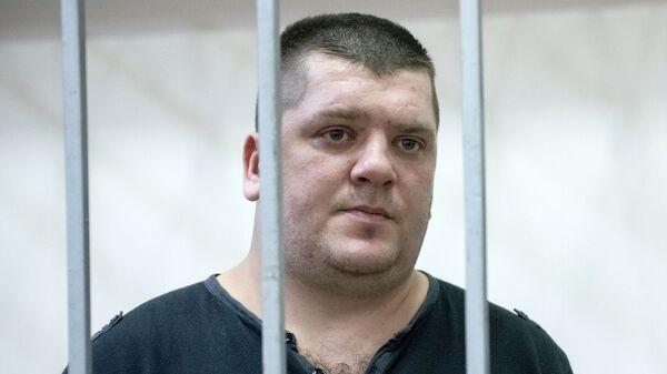 Житель Санкт-Петербурга Андрей Тищенко, обвиняемый в хулиганстве на воздушном судне, на заседании Адлерского районного суда Сочи. 31 января 2019