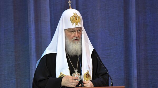 Патриарх Московский и всея Руси Кирилл выступает на торжественных мероприятиях, посвященных десятилетию Поместного собора Русской православной церкви