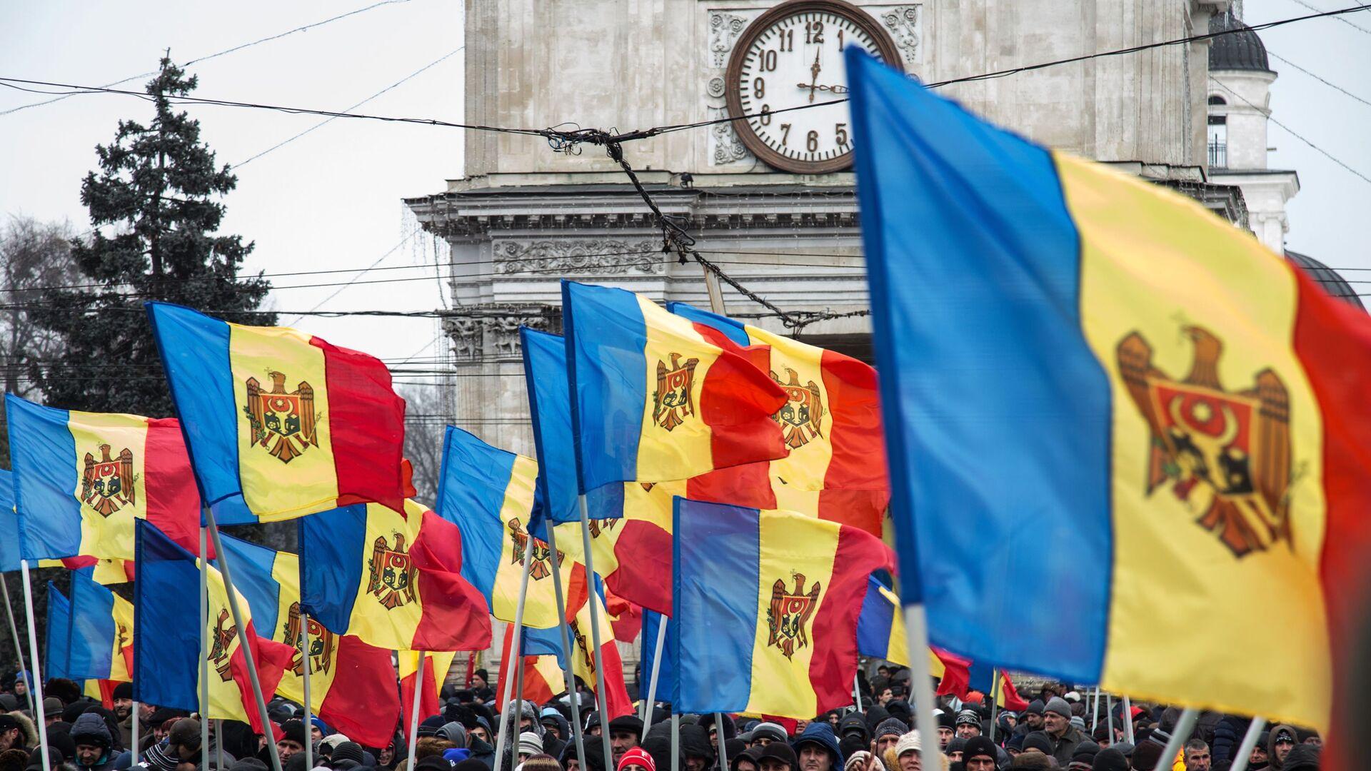Флаги Молдавии во время акции в Кишиневе - РИА Новости, 1920, 20.10.2020