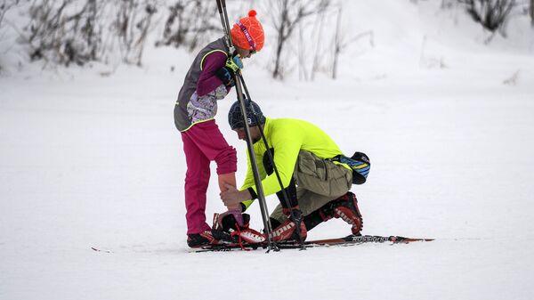 Катание на лыжах в зоне отдыха Битца