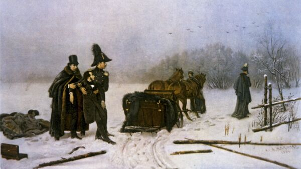 Репродукция картины художника А.А. Наумова Дуэль Пушкина с Дантесом. 1885 год
