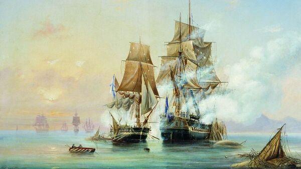 Картина Алексея Боголюбова Захват катером Меркурий шведского фрегата Венус. 1851 год