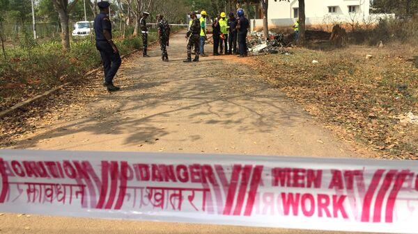 Место крушения двух самолетов авиационной пилотажной группы ВВС Индии Сурья Киран в районе авиабазы Йелаханка в городе Бангалор. 19 февраля 2019