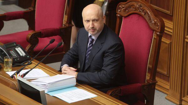 Исполняющий обязанности президента Украины Александр Турчинов на заседании Верховной рады в Киеве