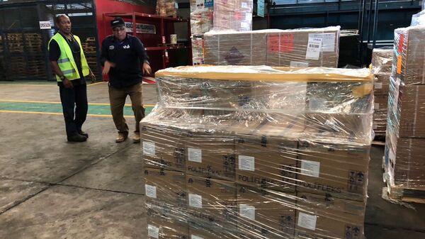 Медикаменты и медоборудование переданное от РФ Венесуэле в аэропорту Каракаса. 21 февраля 2019