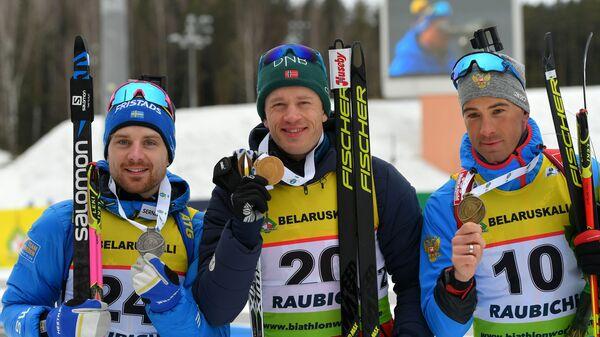 Йеспер Нелин (Швеция), Тарьей Бё (Норвегия) и Дмитрий Малышко (Россия)
