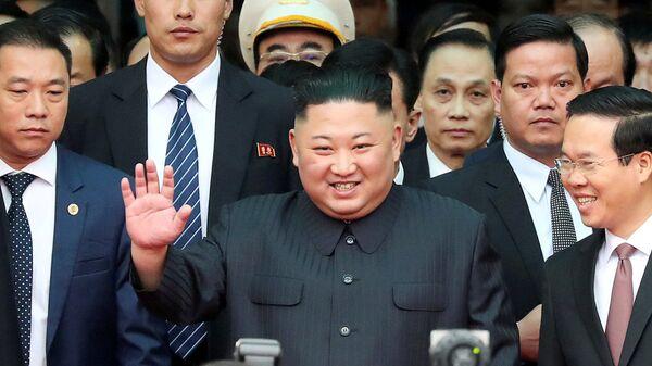 Северокорейский лидер Ким Чен Ын на станции Донг-Данг во Вьетнаме. 26 февраля 2019