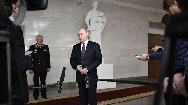 Президент РФ Владимир Путин после ежегодного расширенного заседания коллегии министерства внутренних дел РФ. 28 февраля 2019