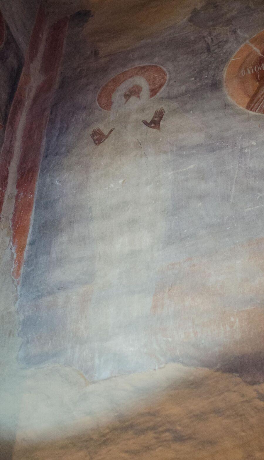 Святой Макарий Египетский, западная стена Троицкой каморы, фреска Феофана Грека.