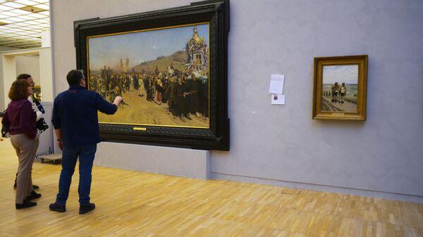 Подготовка выставки Ильи Репина в Третьяковской галерее на Крымском валу