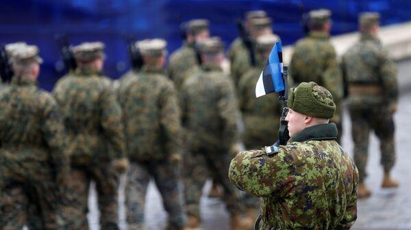 Военнослужащие армии Эстонии во время парада по случаю Дня независимости в Таллине, Эстония. 24 февраля 2019