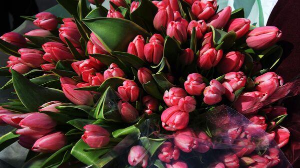 Тюльпаны для поздравления женщин с праздником 8 марта в рамках общероссийской акции Вам, любимые!