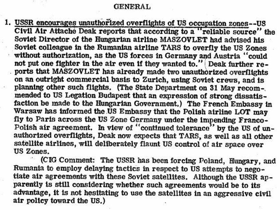 Фрагмент сводки разведки США с сообщением о том, что СССР поощряет несанкционированные полеты над западными оккупационными зонами