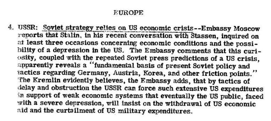 Фрагмент сводки разведки США с донесением о том, что СССР в своей политике рассчитывает на экономический кризис в Соединенных Штатах