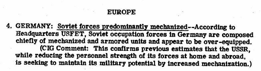 Фрагмент сводки разведки США с донесением о том, что советские войска в Германии преимущественно механизированы